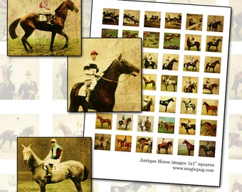 Antique Horse and Thoroughbred Racing 1 inch square digital collage sheet 25mm square inchies 1x1 25.4mm