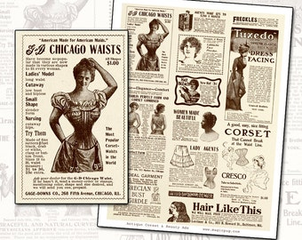 Antique Victorian Magazine ads Womens Beauty Products and Corsets Full Page altered art scrapbooking background sepia white black beauty