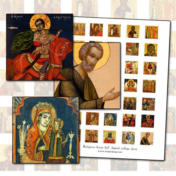 Russian and Greek Orthodox Religious Icon inchies digital collage sheet 1 inch square 25mm catholic church