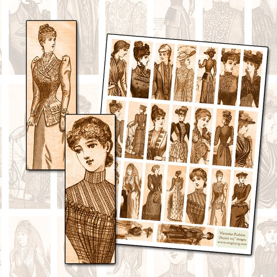 Antique Sepia Victorian Fashion Digital Collage Sheet for Glass Slide 1x3 inches 25 x 75mm costume