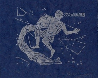 Aquarius Constellation Linocut in Silver on Blue - Constellations of the Zodiac Collection, Aquarius the Water Bearer Star Map