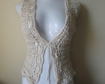 Crochet Vest, VEST, Sweater, festival vest, Boho vest, retro vest, Egyptian cotton, scalloped edges, festival clothing, gypsy, boho