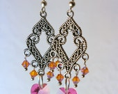 Handmade Heart Crystals Pink and Amber Beaded Dangling Earrings