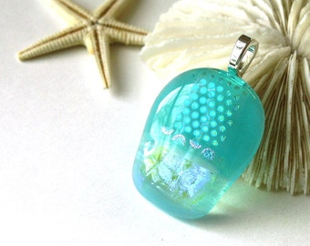 Luscious Aquamarine Pendant - Opalescent fused glass, embedded shimmering dichroic