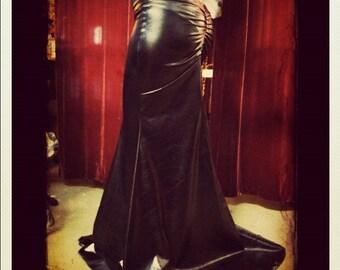 Custom Black Wet Look Specialty Spandex Super Bootie Skirt.