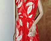 Sheer Red & White Secretary Vintage Mini dress Womens Rockabilly Pin-Up Dress Retro 1970s