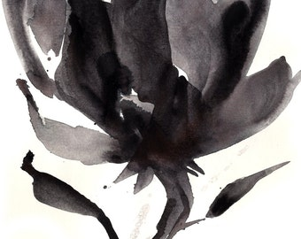"Flower Painting, Abstract Painting, Floral, Watercolor, Art, ""Organic Reflections 15"" Original Black, Gray, Art Kathy Morton Stanion EBSQ"