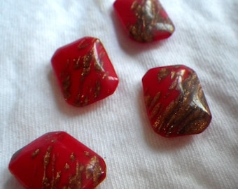Opaque Red and Glitter Gold 18X13mm Octagon Vintage Glass Cabochons 6 Pcs