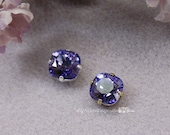 Tanzanite Swarovski Crystal 10mm Cushion Cut 4470 Square With Prong Setting Sew On Crystal Craft Supplies Jewelry Making December Birthstone