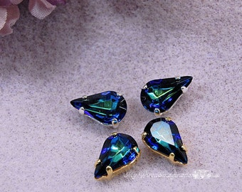 Swarovski Vintage Heliotrope 13 x 7.8mm Pears With Prong Setting 2pcs Crystal Sew On Craft Supplies Jewelry Making