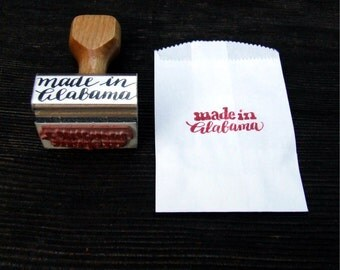 Made in Alabama, Rubber Stamp, Your State Calligraphy Stamp, Hand Lettering Font, Southern Wedding Stamp, Made in America