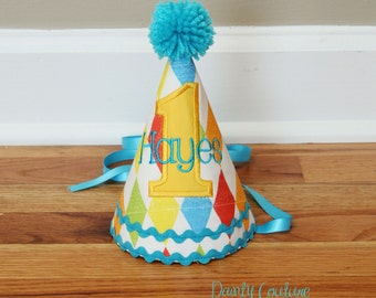 First Birthday Hat Boys - Vintage Toy - Carnival Theme - Red, aqua, yellow, and green - Free personalization