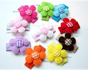 Baby Bow/ Baby Snap Clips / Itty Bitty Clips / Infant Clips / Toddler Girls Bows / No Slip Hair Clip / Set of 10 Spring Flower Clip