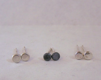 Recycled Sterling Studs, tiny silver studs minimalist earrings gift for her