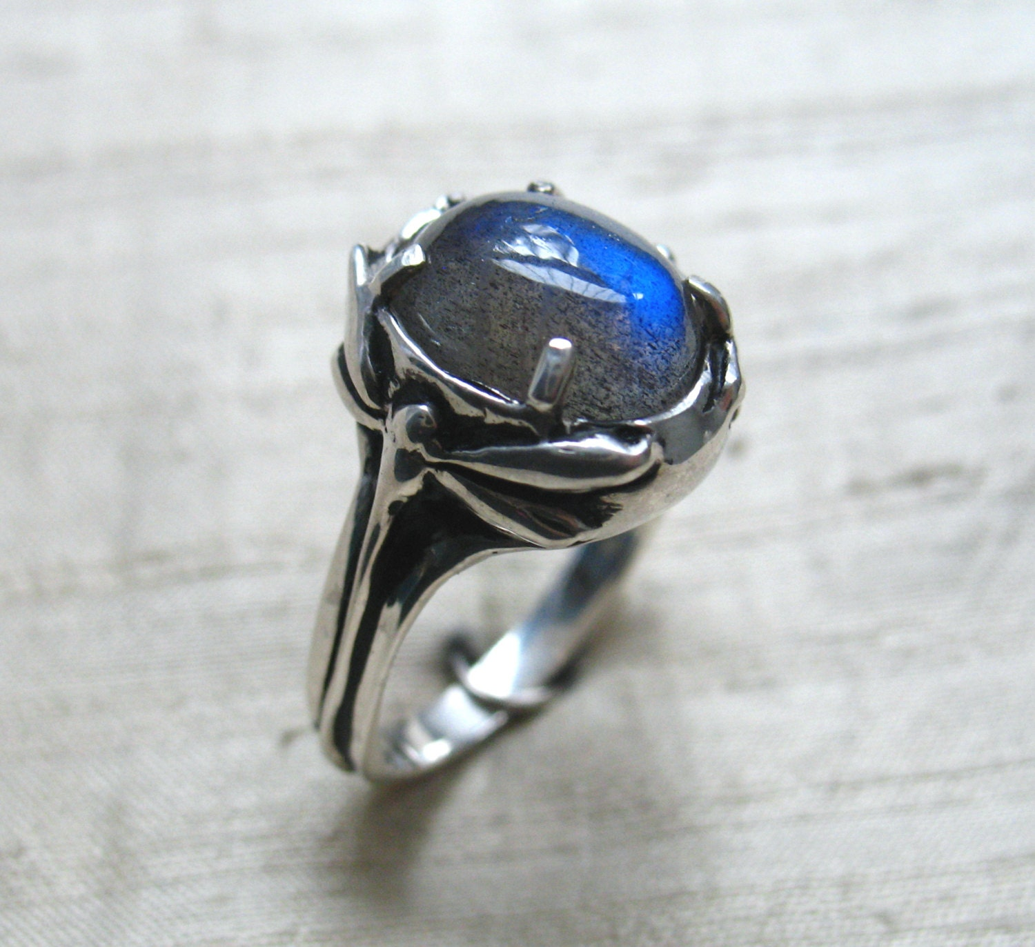 Damselfly And Dragonfly Ring Labradorite And Sterling