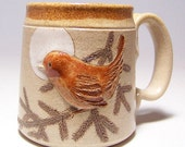 Wren and Pine Bough Coffee Mug Limited Series 181 (12 ounce) microwave safe