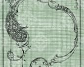 Digital Download Flourish Ornate Border Frame, digi stamp, digis, Antique Illustration Add Photos or Text