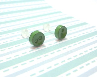 Green Bean Stud Earrings Greenbean Color Mini Buttons Metal Free Acrylic Posts Hypoallergenic Posts Sensitive Ears Kawaii Earrings No Metal