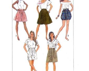 80s Bubble Shorts Summer Skort Culottes shorts Simplicity 8577 pattern Size 10