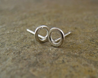 Small Silver Open Circle Stud Earrings, Sterling Ear Studs Minimal Earrings Silver O Studs Mini Silver Studs Organikx