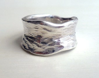 White Water Ring - Size 5 to 7 - Sterling Silver - Organic - Nature Inspired - Handmade - Waves - Textured - Natural RIng - Statement Ring