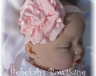 Baby pink headband, Double ruffle bows, infant headbands, triple stacked bows, flower headbands, Easter headbands, little girl hair bows