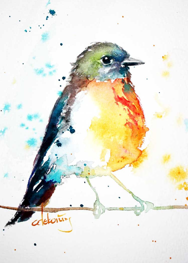 Bird Watercolor Robin Painting Colorful Artwork By