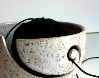 Sandy White Wheel Thrown Yarn Bowl - Made To Order