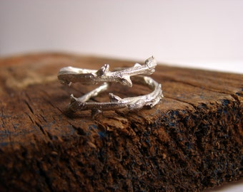 Twig Ring Branch Ring Double Branch Thorn  Sterling Silver ring Elvish Ring