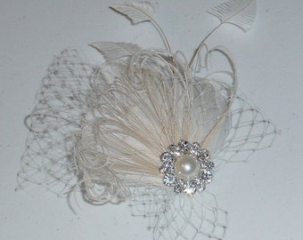 Clearance SALE Ivory and Champagne Ostrich  Feather Fascinator Wedding Headpiece Hair Accessory Ready to Ship