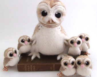 Needle felted Barn Owl Life Sized Collectible Art Doll Owl