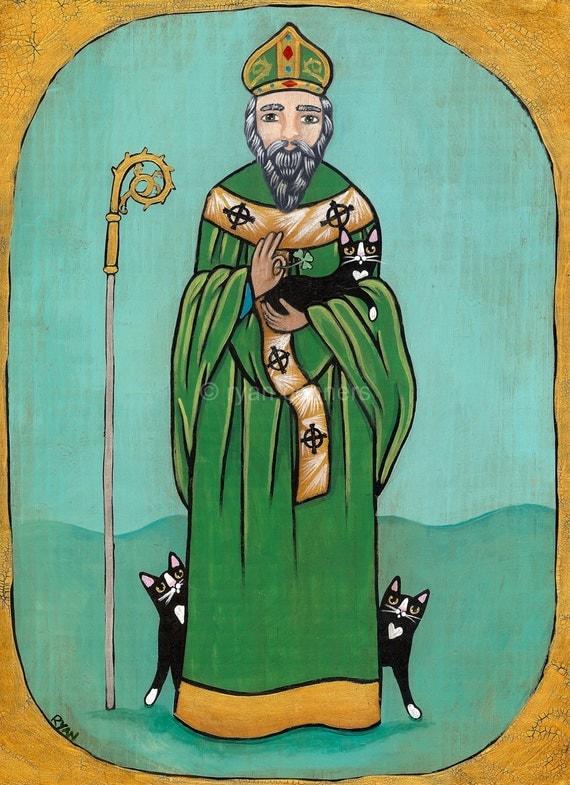 Saint Patrick And Cats Original Folk Art Painting