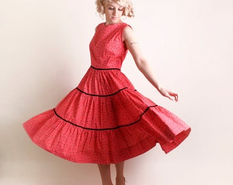 Vintage 1950s Patio Dress - Full Circle Skirt Rockabilly Gal Cotton Dress - Large
