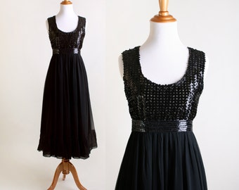 Vintage 1960s Dress - Cocktail Sequin Bodice Chiffon Evening Dress - Small