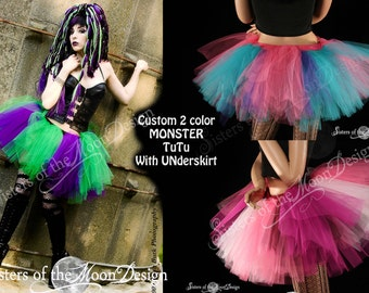 Custom Color Monster tutu skirt adult gothic rave dance petticoat costume with UNDERSKIRT - You Choose Size & Colors -Sisters of the Moon
