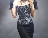 Baroque Black and Silver Taffeta Corset with Damask Print-Made to Measure (your size)