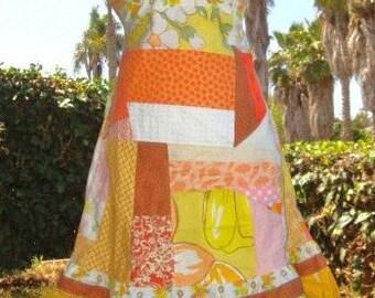 SALE Patch Sun Dress Yellow Orange Bright Retro Summer Sundress Patchwork Patchy Halter Vintage Hippie VACATION Designer elyse oRiGiNaLs