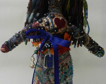 Hope - 14 inch tall Beaded Cloth Art Doll, One of a Kind, inspired by the Elements