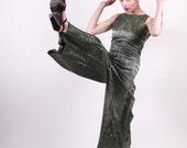 60s Pantsuit Jumper - Forest Green Oriental Pattern - Medium