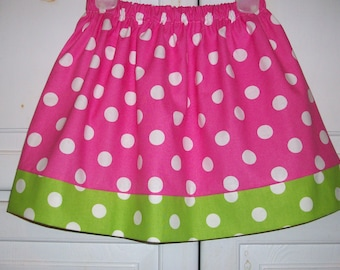 Girls Skirts, Polka Dot Skirt, Hot Pink and Lime, Birthday Party Skirt, baby skirts, toddler skirts, Skirt with Dots, Kids Clothes