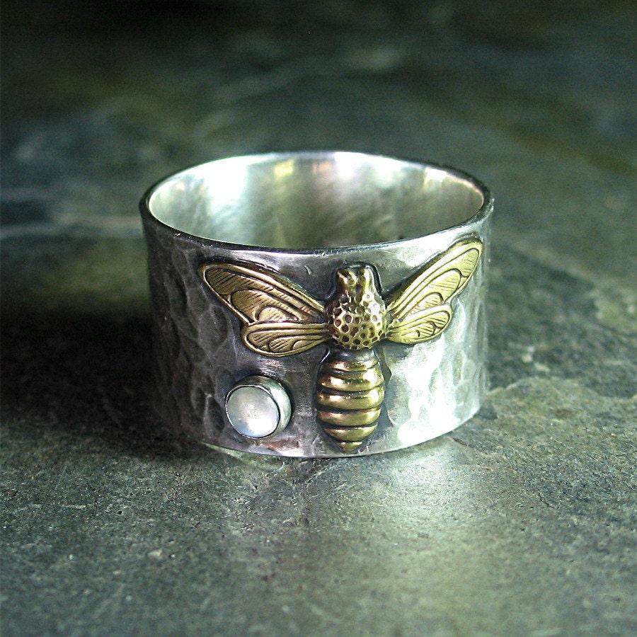 Bee Ring Gemstone Sterling Silver Honeybee Nature Jewelry