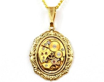 Steampunk Neo-Victorian Lolita Necklace with RARE Gold Bulova Vintage Watch Movement by Velvet Mechanism