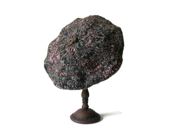 Tweed Gray Beret Hand Knitted with Soft Wool Blend