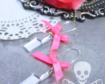 SWEET CLEAVERS - Silver Mirror Laser Cut Acrylic Meat Cleavers and Hot Pink Bows - Charm Earrings