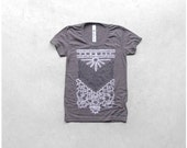 The Nomad - tshirt for women - boho fashion - chest plate screenprint in white and gray - heather brown womens t shirt - graphic tee