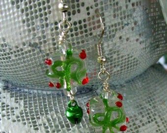 Glass Holiday Package Earrings with Green Bells