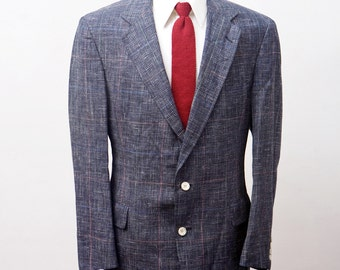 Men's Blazer / Vintage Austin Reed Plaid Wool Jacket / Size 46 Large-XL