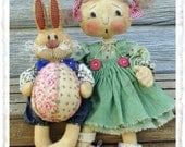 CF241 April's Prize Egg - Cloth Doll & Rabbit with Easter Egg Pattern E-Pattern