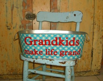 Sale - Grandkids make life grand - Blue Gingham Large Oblong Tub - I have been crafted and am ready for shipping