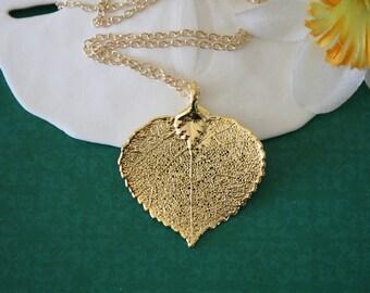 Gold Leaf Necklace Mother Gift, Aspen Leaf Necklace, Real Leaf Necklace